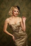 Beautiful blond woman retro portrait. Royalty Free Stock Photography