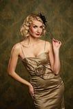Beautiful blond woman retro portrait. royalty free stock photography