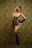 Beautiful blond woman retro portrait. Stock Photos