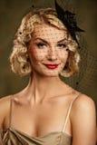 Beautiful blond woman retro portrait. Stock Photo