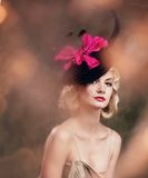 Beautiful blond woman retro portrait. Stock Images