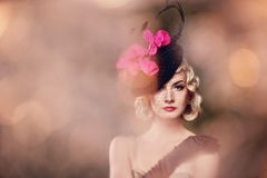 Beautiful blond woman retro portrait. Stock Photography