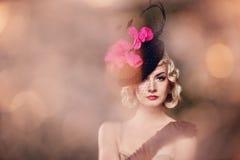 Beautiful blond woman retro portrait. Stock Photography
