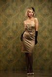 Beautiful blond woman retro portrait. Royalty Free Stock Image