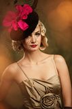 Beautiful blond woman retro portrait. Royalty Free Stock Photo