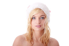 Beautiful blond woman in santa hat Stock Photos