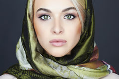 Beautiful blond woman in scarf Stock Photos