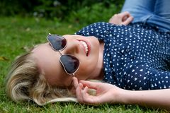 Beautiful Blond Woman with Sunglasses Stock Photography