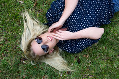 Beautiful Blond Woman with Sunglasses Royalty Free Stock Photo