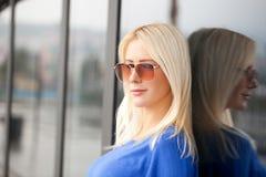 Beautiful Blond Woman With Sunglasses Stock Photo