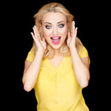Beautiful blond woman with a surprised expression Stock Photography