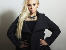 Beautiful Blond Woman in Topcoat. Fashionable Lady Stock Images