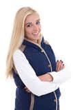 Beautiful blond woman in warm clothes posing isolated on white Royalty Free Stock Photo