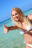 Beautiful blond woman wearing bikini Royalty Free Stock Image
