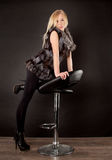 Beautiful blond woman wearing fur coat Royalty Free Stock Photo
