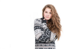 Beautiful blond woman wearing sweater isolated. On white Royalty Free Stock Images