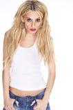 Beautiful blond woman wearing white t-shirt Stock Photo