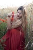 Beautiful blond woman in a wheat field with poppies at sunset Royalty Free Stock Images