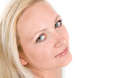 Beautiful blond woman. On a white background Stock Photo