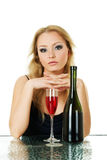Beautiful blond woman with wine Royalty Free Stock Image