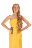 Beautiful blond woman in yellow dress Royalty Free Stock Photos