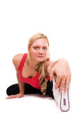 Beautiful blond women exercising. Young Beautiful blond women exercising Royalty Free Stock Images