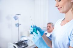 Beautiful blond women Nurse in the hospital with her patient royalty free stock photo