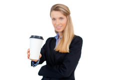 Beautiful blond young businesswoman holding a cup of coffee Stock Images