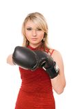 Beautiful blond lady in boxing gloves Royalty Free Stock Images