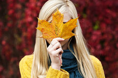 Beautiful blond young woman - autumn portrait Royalty Free Stock Photos