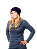 Beautiful blond young woman in winter clot Stock Photo