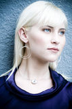 Beautiful Blonde 01. Beautiful woman displaying her new jewelry Stock Image