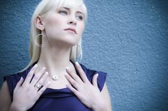 Beautiful Blonde 10. Beautiful woman displaying her new jewelry Stock Images