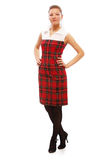 Beautiful blonde. Full-length portrait of beautiful blonde girl in red checked dress on white Stock Photos