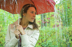 The beautiful blonde. With a umbrella under a rain Royalty Free Stock Images