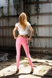 Beautiful Blonde in Abandonded Warehouse royalty free stock photography