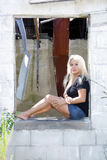 Beautiful Blonde at an Abandoned House (4) Stock Images