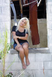 Beautiful Blonde at an Abandoned House (7) Stock Photo