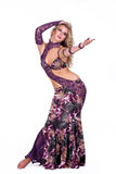 Beautiful blonde in the active Arab Dance. Beautiful blond in the active Arab Dance, isolated on white background Stock Photography