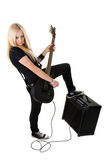 Beautiful blonde with amp Royalty Free Stock Photo