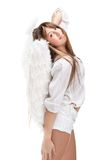Beautiful blonde angel against white background Royalty Free Stock Photos