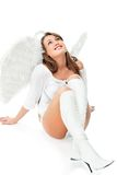 Beautiful blonde angel against white background Royalty Free Stock Photo