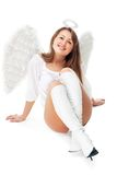 Beautiful blonde angel against white background Stock Photos