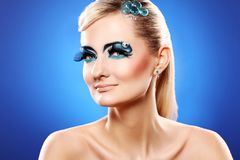 Beautiful blonde with artistic makeup Royalty Free Stock Photo