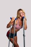 Beautiful Blonde Athlete on Crutches (2) royalty free stock photos
