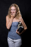 Beautiful blonde with a bag for purchases Royalty Free Stock Images