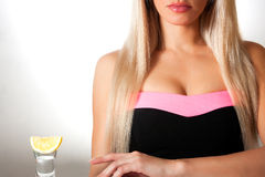 Beautiful blonde in a bar Stock Photography