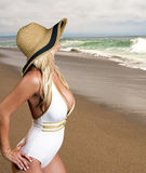 Beautiful blonde on the beach Royalty Free Stock Images
