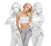 Beautiful blonde beauty woman in sport wear Royalty Free Stock Photos