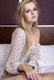 Beautiful blonde in bed Royalty Free Stock Photos